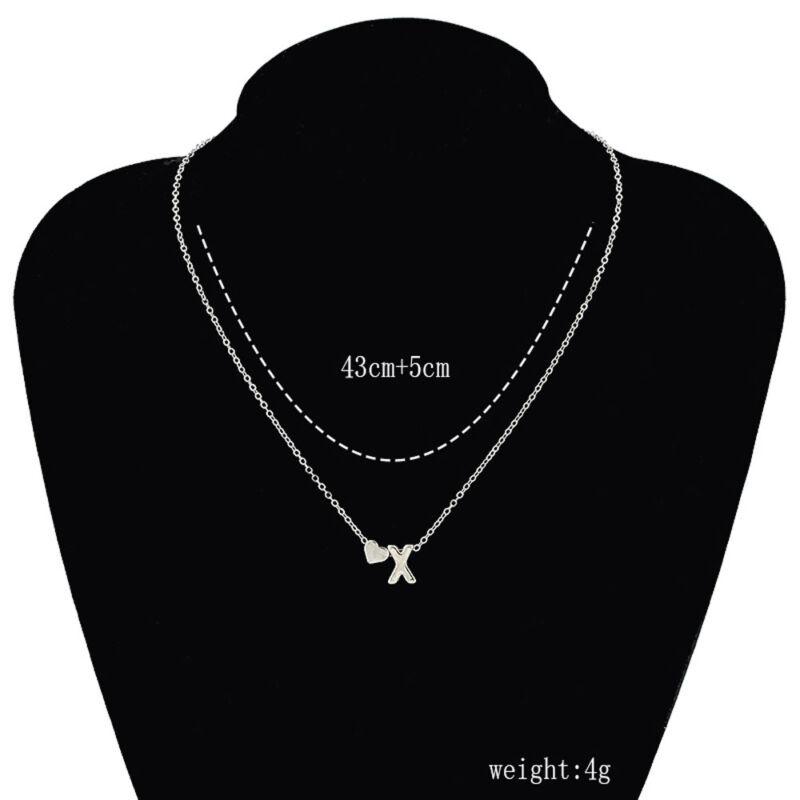 Mujer Collar De Cadena Gargantilla Colgante corazón 26 letras Joyería 12