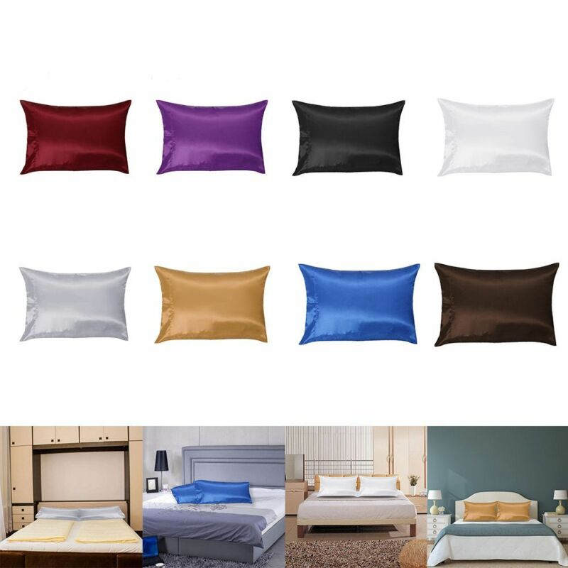Hot 1/2Pcs Mulberry Silk Pillow Case Pillowcase Covers Housewife Queen Standard 4