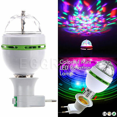 E27 B22 E14 RGB Crystal Ball Auto Rotating LED Stage Light Bulb Disco Party Lamp 3