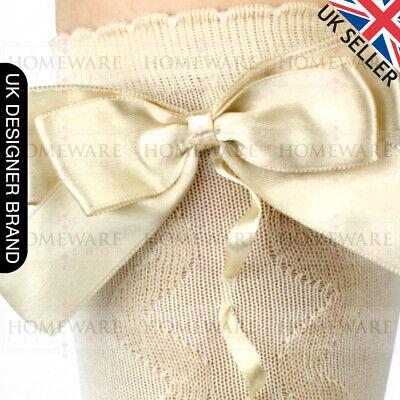 Girls Knee High Bow Socks Spanish Style Slotted Ribbon Socks Uk Designer Kids 6