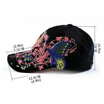 AKIZON Baseball Cap For Women With Butterflies And Flowers Embroidery Adjustable 5