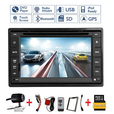 Autoradio Gps Navegación Bluetooth Dvd Usb Sd Mp3 Doble 2 Din Radio De Coche+Cam 4