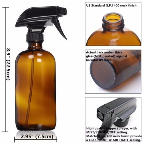 2678ed187bb9 6X EMPTY AMBER Glass Spray Bottles 16 oz Trigger Sprayer Essential Oil  Dispenser
