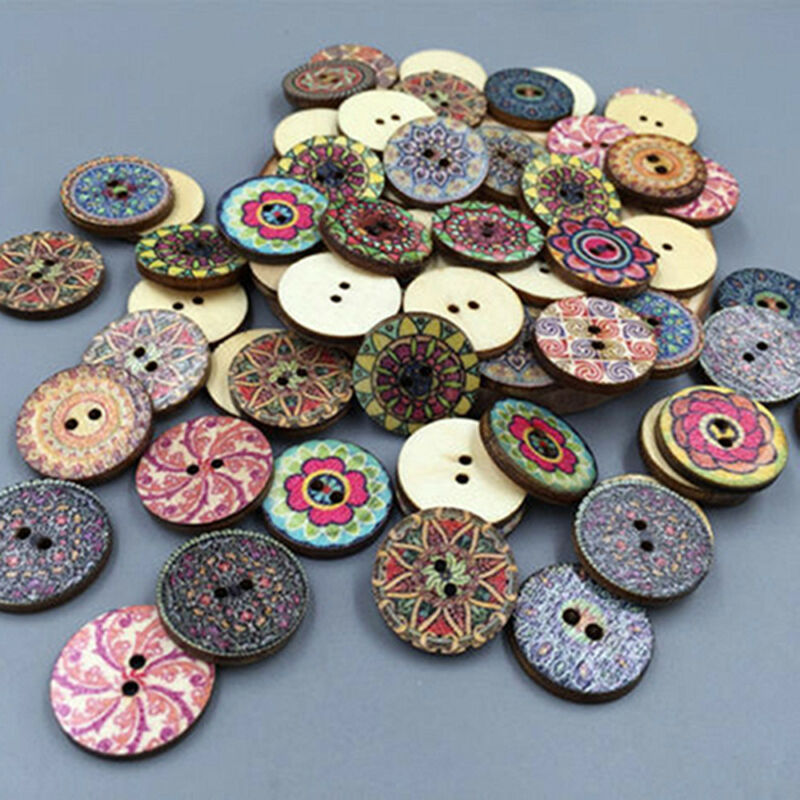 50Pcs/lot Flower Picture Wood Button 2 Holes Mixed Color Apparel Sewing DIY Gift 6