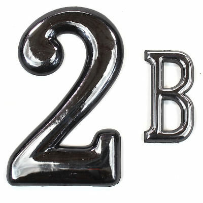 """Self Adhesive Door Numbers Chrome Finish 4"""" Number 2"""" Letter House Apartment 7"""