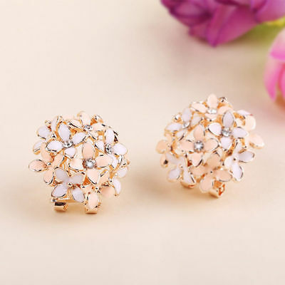 New 1 Pair Elegant Women Crystal Rhinestone Pearl Ear Stud Fashion Earrings Gift 7
