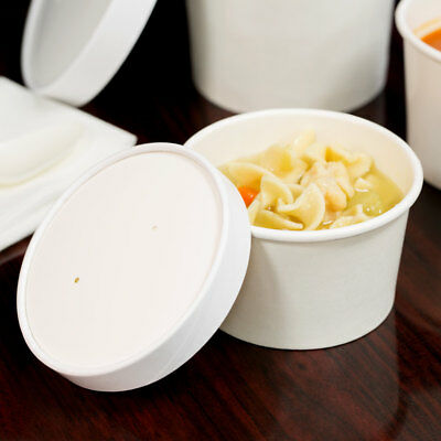 (250 Pack) 8 oz. Double-Wall White Paper Soup / Hot Food Cup with Vented Lid