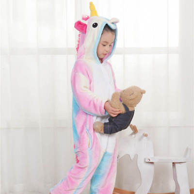 Rainbow Unicorn Kids Kigurumi Animal Cosplay Costume Onesie01 Pajamas Sleepwear 9