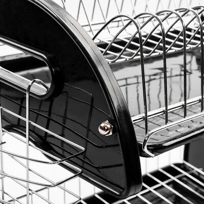 Large Capacity 2 Tier Dish Drainer Drying Rack Kitchen Storage Stainless Steel 6