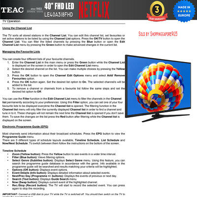 "TEAC 40"" Inch FHD SMART TV Netflix Youtube Freevie Made In Europe 3Year Warranty 7"