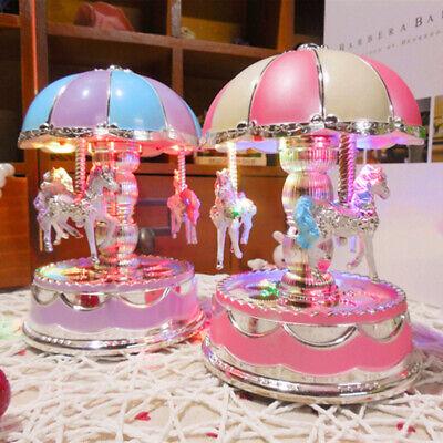 Vintage Horse Carousel Music Box Kids Toys Flash Light Musical Birthday Gifts US 3