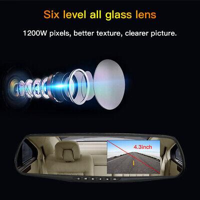 4.3'' HD Dual Lens Car DVR Dash Cam Front and Rear Mirror Camera Video Recorder 6