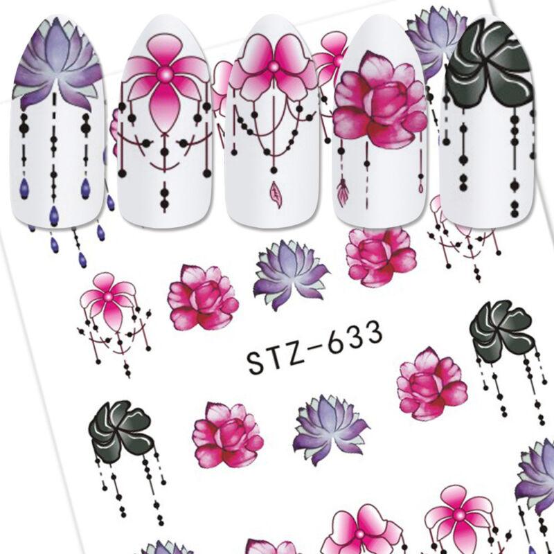 6 Sheet Water Transfer 3D Flower Design Manicure Nail Art Stickers Decals DIY 3