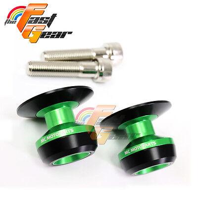 Twall Protector Green  Swingarm Spools Sliders Fit Kawasaki Ninja 250R 2008-2012