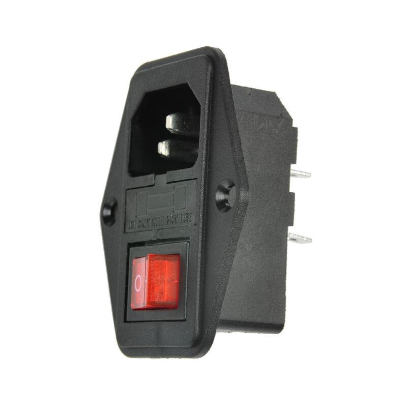 URBEST 10A 250V AC Rocker Switch 3 Pin IEC320 C14 Inlet Module Plug 5A Fuse 5