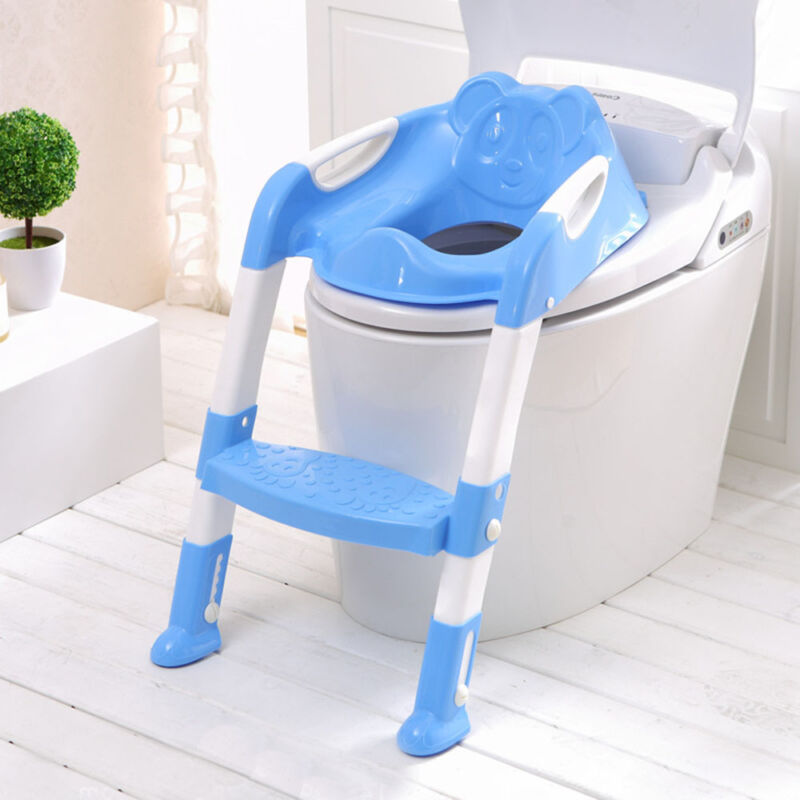 Teddie Kids Baby Child Toddler Potty Loo Training Toilet Seat & Step Ladder Blue 2