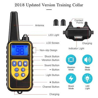 Dog Shock Training Collar With Remote Rechargeable IP67 No-bark For S/M/L Dogs 7