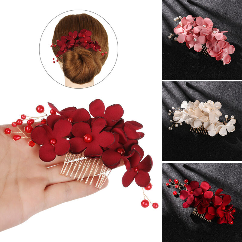Bridal Wedding Fashion Pearls Flower Hair Barrette Clip Hairpin Accessories Gift 5