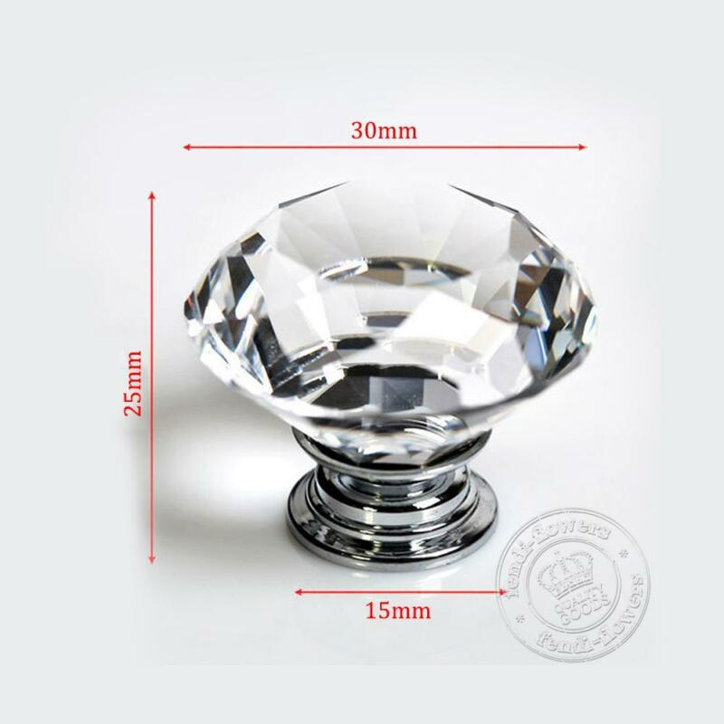 Crystal Diamond Round Cabinet Faceted Cut Glass Cupboard Door Knobs
