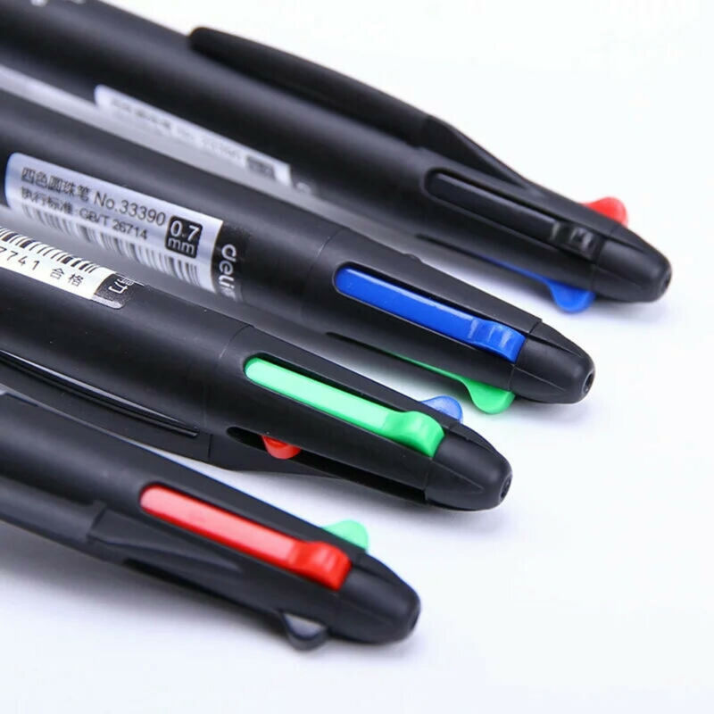 Multicolor 4in1 Ballpoint Pen 0.7mm Refill Retractable School Supply Fine Point 4