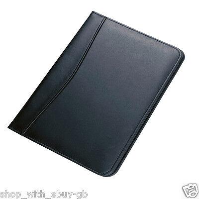 A5 Black Unzipped PU Leather Conference Folder Portfolio W/ Slots Free Notepad 2