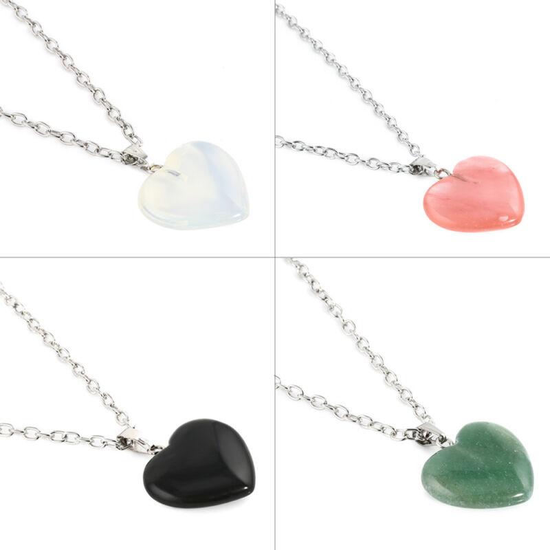Natural Quartz Stone Gemstone Heart Rock Healing Point Chakra Pendant Necklace 2