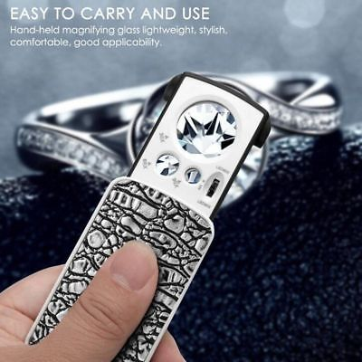 Pocket Magnifying 30/60/90X Jewellers Magnifier Glass UV LED Slide Light Loupe 4