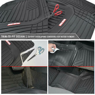 Waterproof TriFlex Rubber Floor Mats for Car Van SUVs Truck w/ Rear Liner Black 6