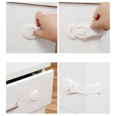 10X Drawer Cabinet Safety Locks Cupboard Lock Doors Stopper For Children Infant 6
