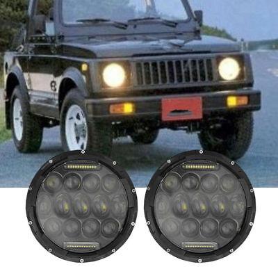 "Pair 7"" INCH 75W LED Headlight Hi/Lo Beam DRL Fit Jeep Wrangler CJ JK LJ Camaro 2"