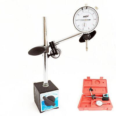 0-10mm Dial Indicator Gauge with Magnetic Base Fine Adjustable Long Arm 0.01mm 2