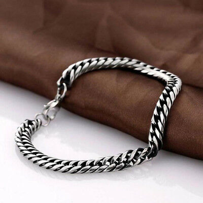 Silver Men's Stainless Steel Chain Link Bracelet Wristband Bangle Jewelry Punk 4