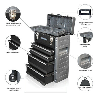 320 US PRO Tools Black Mobile Roller Chest Trolley Cart Storage cabinet Tool Box 2