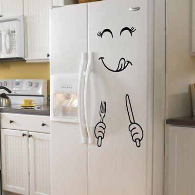 Smiley Fridge Sticker Vinyl Wall Stickers for Fridge Kitchen Bathroom Kawaii New