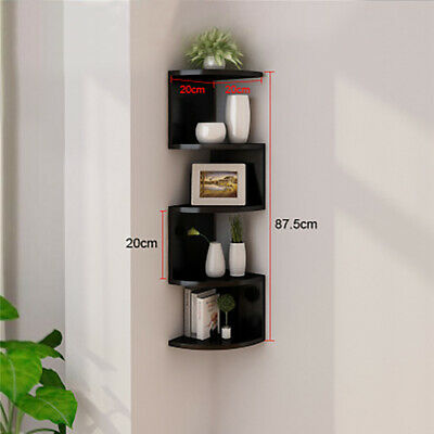 2/3/5 Tier Floating Wall Shelves Corner Shelf Storage Display Bookcase Bedroom 11