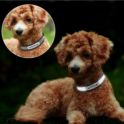 Reflective Leather Personalized Dog Collar Engraved Puppy Cat Pet Collars ID Tag 11