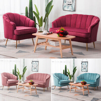Blush Pink Velvet Lotus Seat Shell Tub Chair Armchair 2 Seater Sofa Couch Settee 6