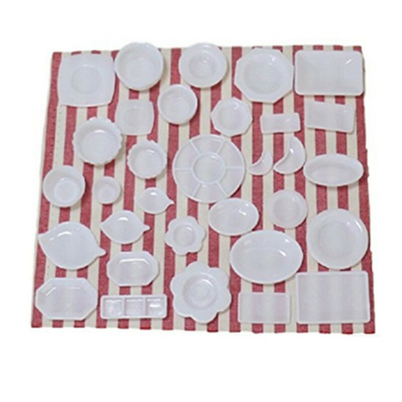 33Pcs/set Mini Kitchen Dishes Plate Food Tray Model Kids Toys Gift Accessories 8