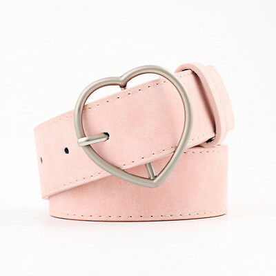 Stylish Ladies Women Heart Buckle Belt Dress Jeans Faux Leather Waistband NEW 10