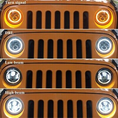 "Pair 7"" INCH LED Headlights Halo Angle Eye For Jeep Wrangler TJ CJ JK LJ 97-18 5"