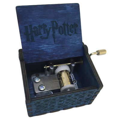 Blue Harry Potter Music Box Engraved Wooden Interesting Toys Gifts US Stock