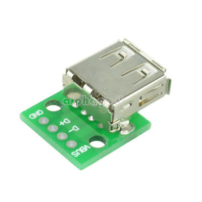 5PCS Type A Female USB To DIP 2.54MM PCB Board Adapter Converter 3