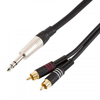 """Sweex Twin 2x 6.35mm Stereo 1//4/"""" Jack to 2 RCA Phono Male Cable Audio Lead"""