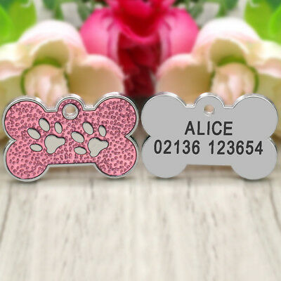 Personalized Dog Tags Engraved Cat Puppy Pet ID Name Collar Tag Bone/Paw Glitter 6