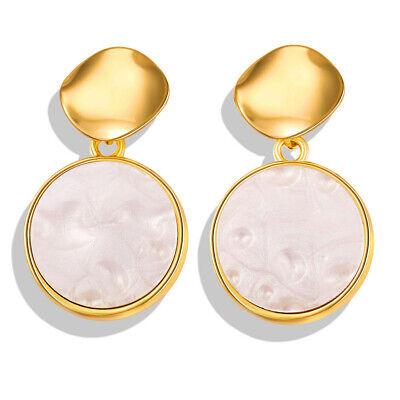 Women Metal Simple Geometric Circular Marble Drop Long Earrings Vintage Ear Stud 5