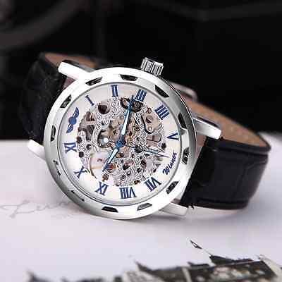 Men's Skeleton Mechanical Wrist Watch Steampunk Luxury Black Leather Stainless 7