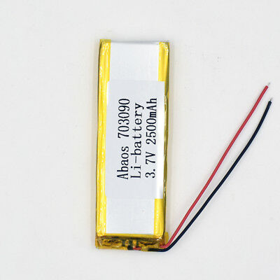 3.7V 2500mAh 703090 Li-Polymer Rechargeable Cell Li-ion LiPo Battery for GPS MP3 3