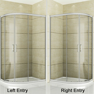 Aica Offset Quadrant Shower Enclosure and Tray Corner Cubicle Glass Door Screen 7
