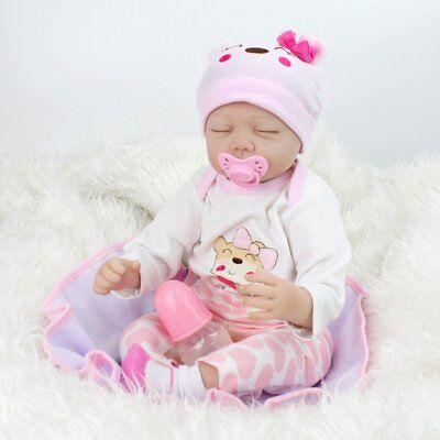 "22""Reborn Baby Doll Lifelike Newborn Silicone Vinyl Handmade Sleeping Kids Toy 3"
