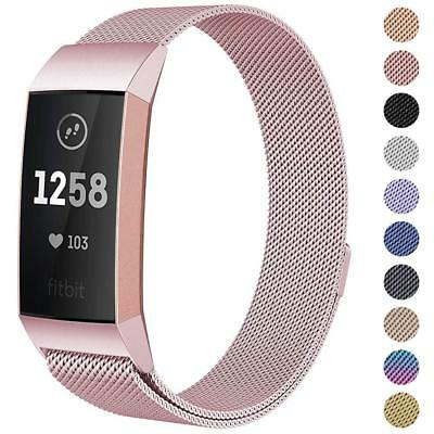 For Fitbit Charge 3 Strap Replacement Milanese Band Stainless Steel Magnet UK 2